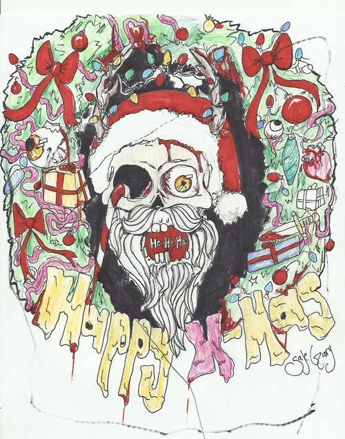 beard, blood, bones, bows, candy, candy cane, christmas, dead, death, eye, eye ball, gift, gifts, gore, happy, heart, hearts, knife, macabre, present, presents, saje, santa, scary, skeleton, skull, smile, teeth