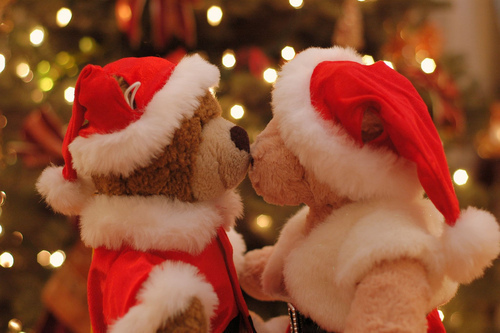 bears, christmas, cute, kiss, love