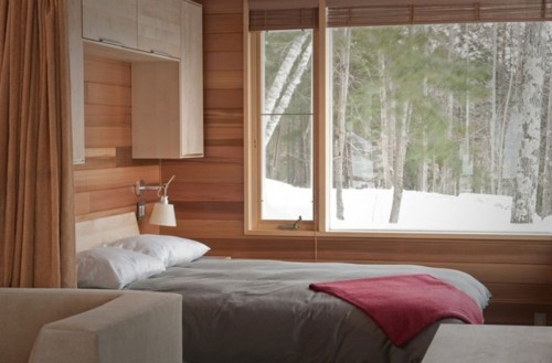 beautiful, bed, bedroom, couch, gorgeous, home, house, interior, interior design, room, scenary, snow, view, walls, window, winter, wooden
