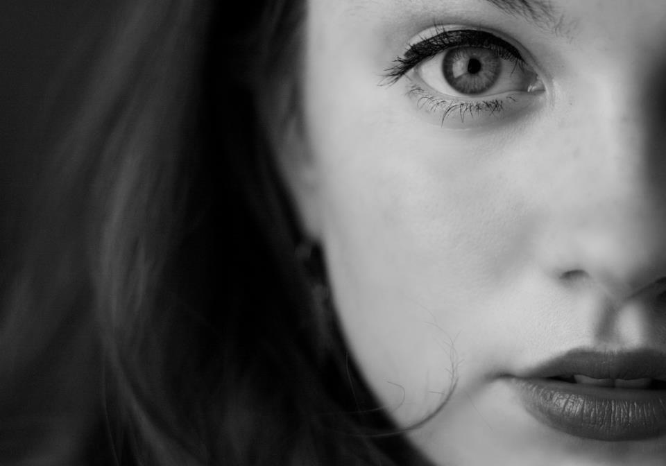 beautiful, black and white, brunette, liquid eyeliner, pale skin