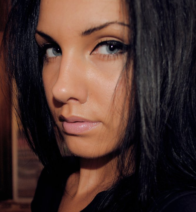beautiful, black hair, blue eyes, brunette, cateye