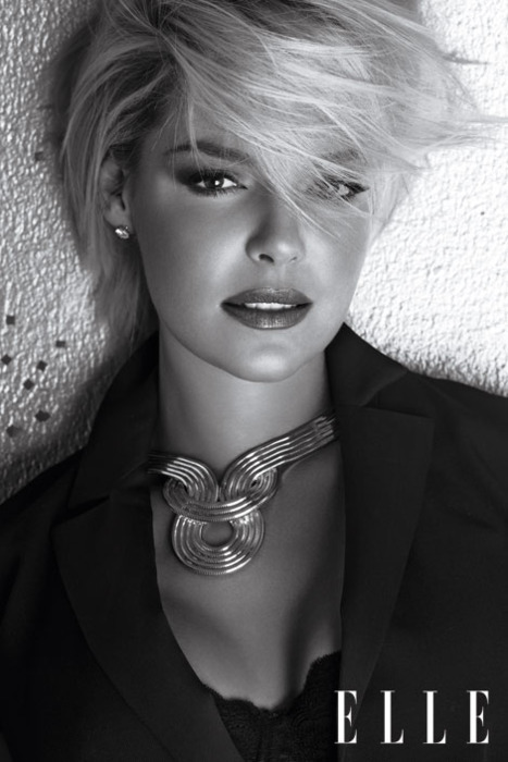 beautiful, black&white, clothes, elle, famous, fashion, girl, katherine heigl, lipstick, magazine, mode, model, perfect, skin, woman