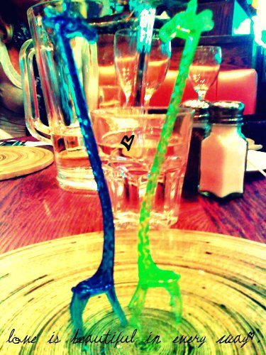beautiful, blue, cute, giraffe, giraffes, glass, heart green, hold on, love, peace, salt, table