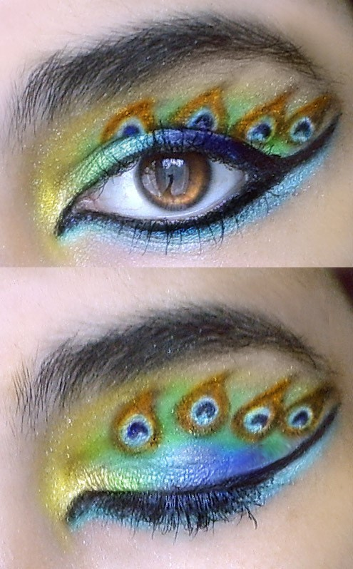 beautiful, blue, eye, gold, green, make up, peacock, yellow