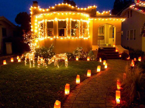 beautiful, candles, christmas, fairytale, holidays, home, house, lights, new year