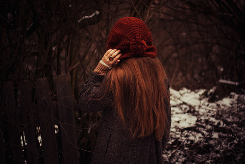 beautiful, fashion, forrest, girl, hat, long hair, photography, pretty, red hair, red hat, vintage