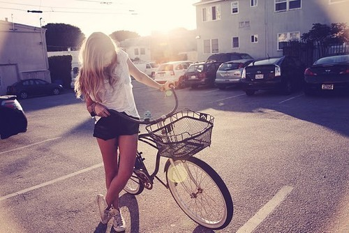 beauty, bike, blonde, clothes, cool