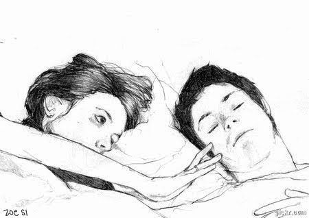 bed, black and white, boy, boyfriend, couple