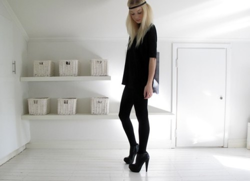 bedroom, black, blonde, blonde hair, door, girl, girly, heels, high heels, legs, room, skinny, slim, top, white