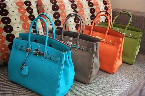 beige, birkin bag, blue, brown, green