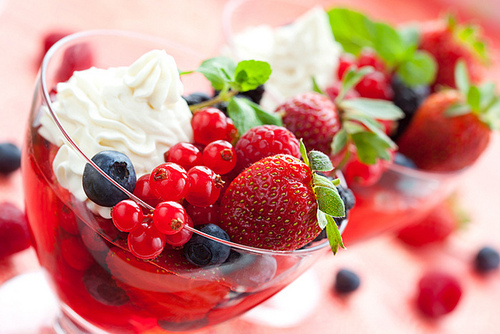 berries, dessert, food, whipped cream, yum
