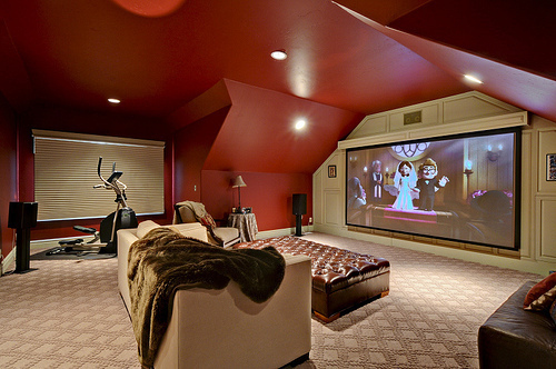 big, cinema, nice, red, room
