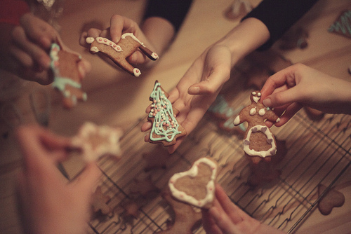 biscuits, christmas, christmas tree, cute, delicious, food, hand, hands, heart