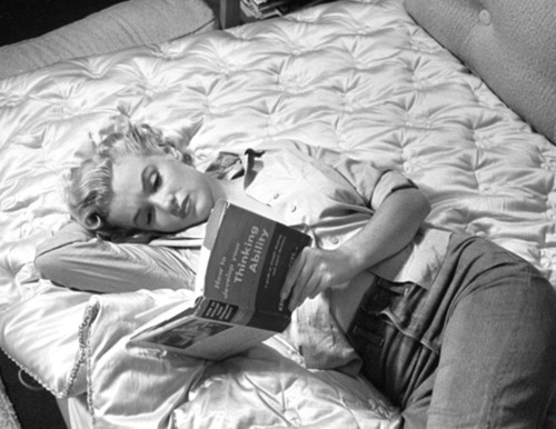 black and white, blonde, book, marilyn monroe, reading