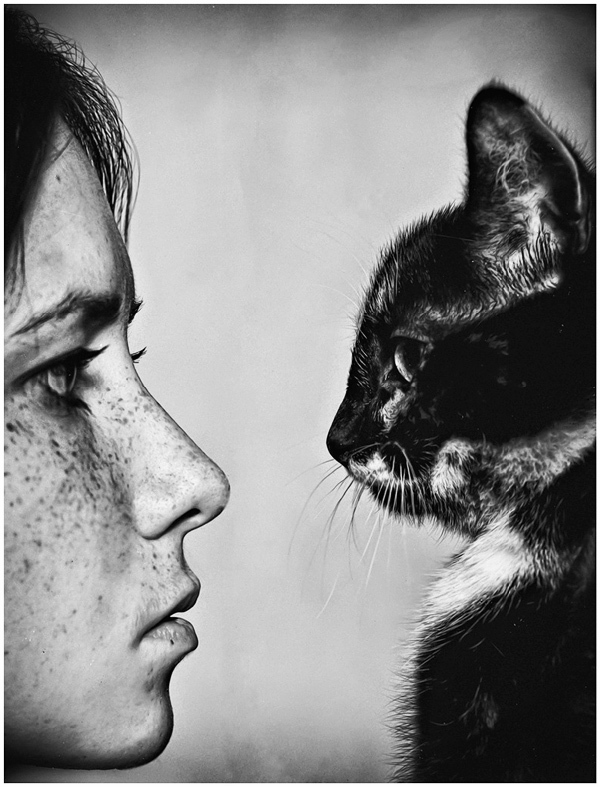 black and white, cat, freckles, girl, kitten, kitty, photography