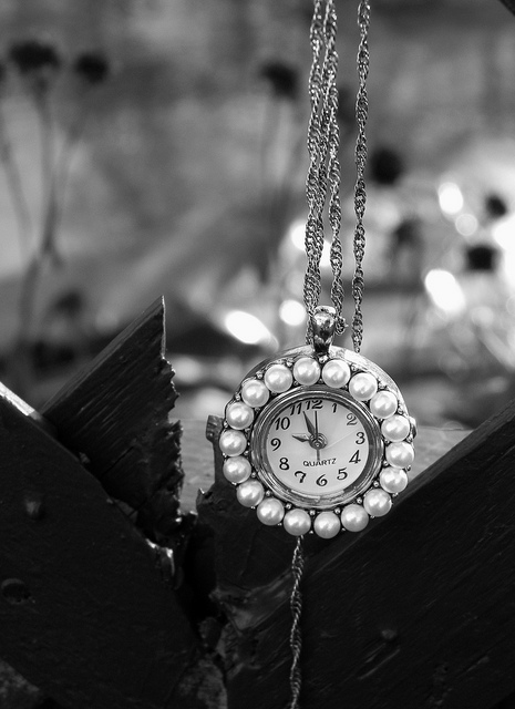 black and white, clock, cool, fashion, interesting, jewelry, necklace, pearls, photo, photography, time, watch