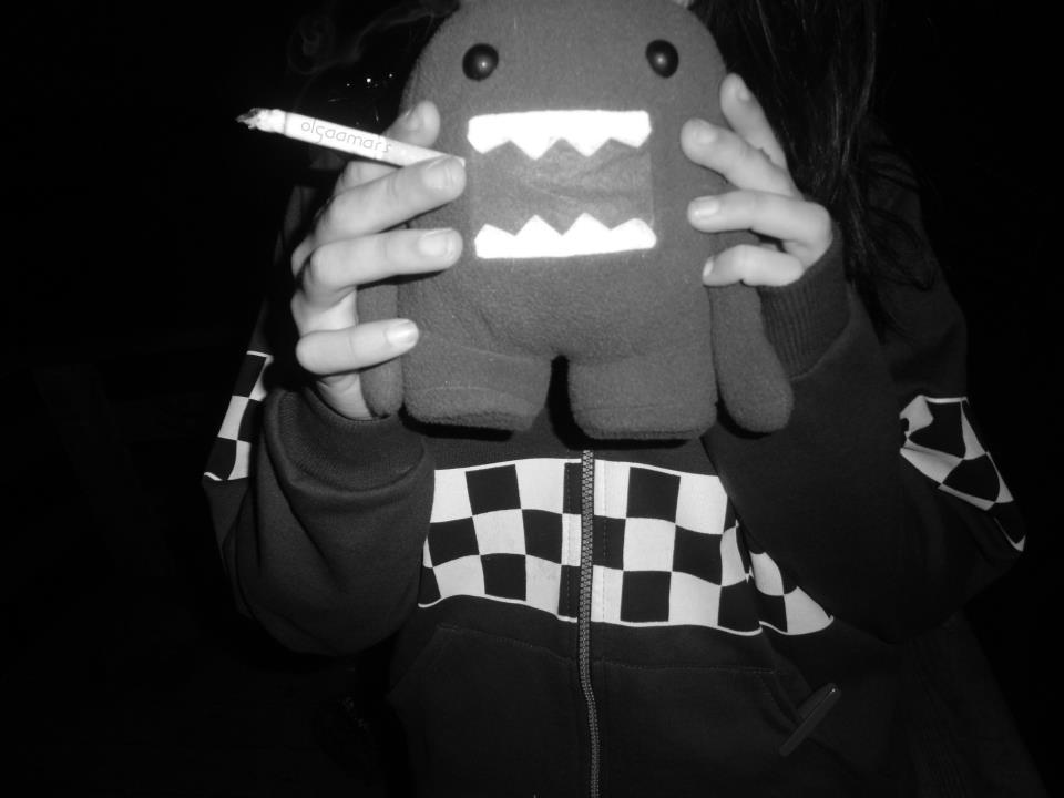 black, black and white, cool, domo, domo-kun