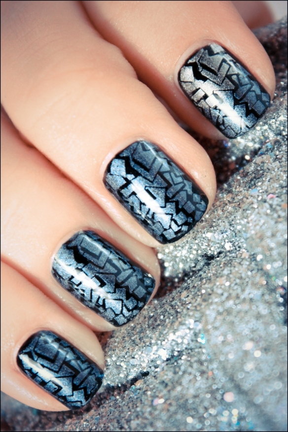 black, blue, crackle, glitter, konad, nail art, nail polish, nailpolish, nails, pshiiit, silver