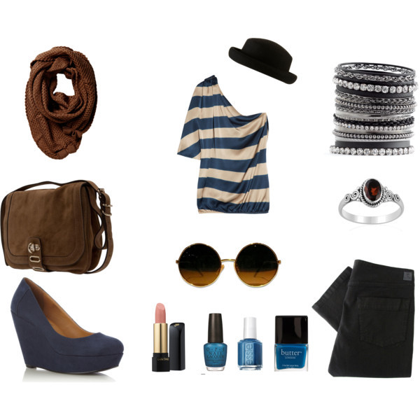 black, bracelet, brown, cross body bag, glasses, jeans, lipstick, nail polish, platform shoes, red, ring, scarf, trousers, white