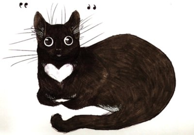 black, cat, cute, draw, drawing, heart, illustration, kitten, kitty, white