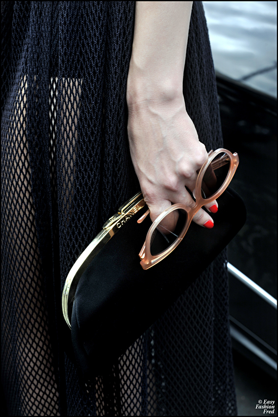 black, chanel, clothes, clutch, fashion
