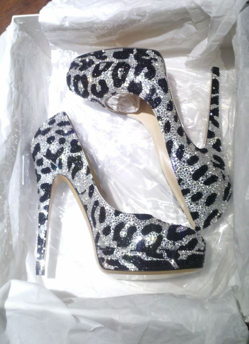 black, glitter, high heels, leopard, love