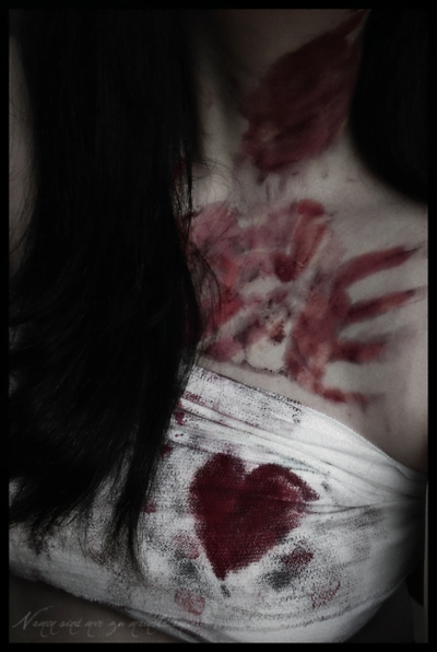 black hair, blood, body, despair, dirt, drama, drawn, girl, hate, heart, scary