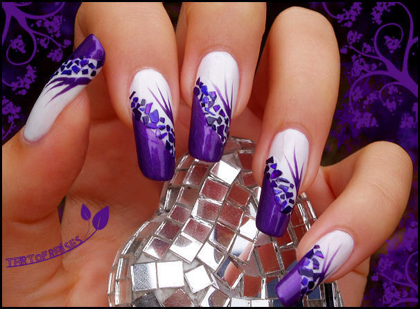 blog, nail art, nail design, nail polish, nails, purple, tartofraises, white