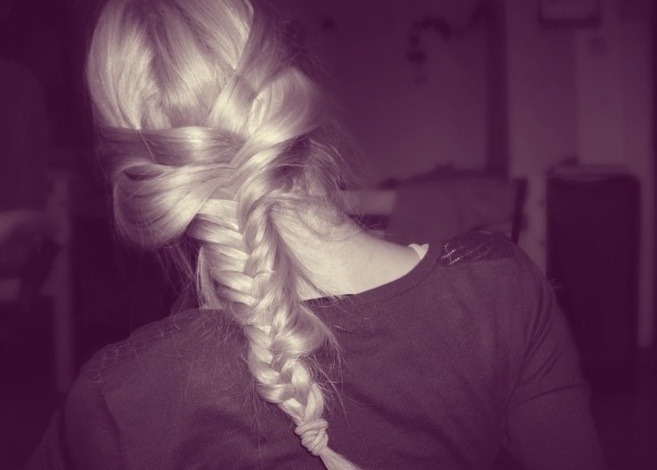 blonde, braid, hair, purple