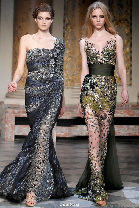 blue, catwalk, dresses, fashion, gold, make up, models, smokey eyes, style, zuhair murad