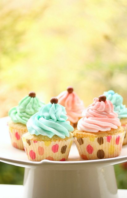 blue, colorful, cupcakes, food, girly, pastel color, pink, sweet