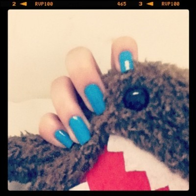 blue, cute, domo, domo kun, fluffy, instagram, love, nail, nail polish, polish, pretty, rawr