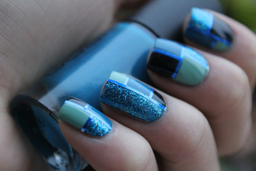 blue, cute, fashion, girl, girly, glitter, green, grey, nail art, nail lacquer, nail polish, nails, silver, sparkles