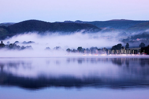 blue, fog, forest, lake, light, mist, mountains, photo, photography, trees