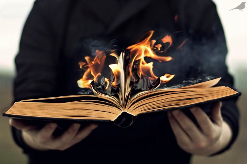book, burn, cold, fire, hand