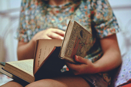 book, floral, girl, literature, old, vintage, words