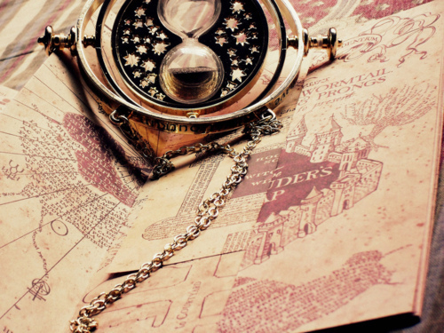 books, harry potter, heart, map, necklace