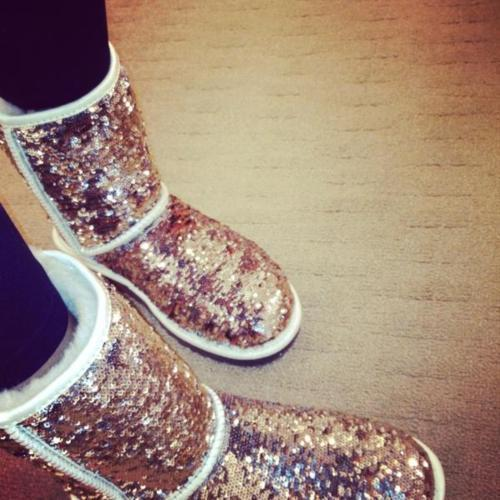 boots, cold, fashion, girl, gloss, gold, paillettes, ugg boots