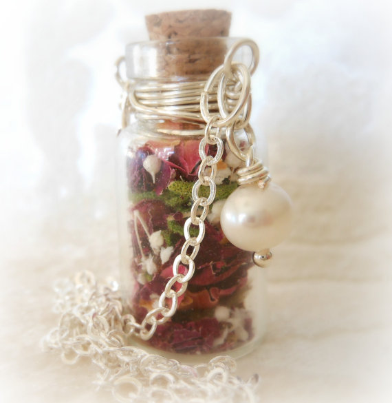 bottle, cute, etsy, flower, flowers, gift, glass, grow, karmabeads, necklace, pearl, purple, roses, valentine, valentines day, vial