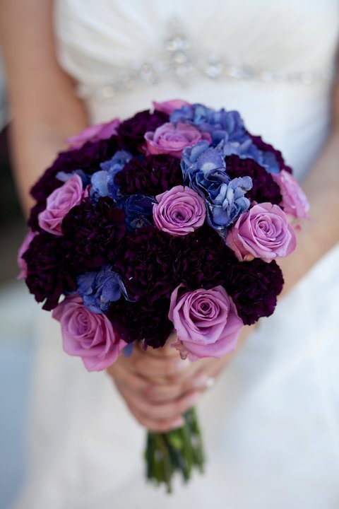 bouquet, dress, flowers, purple, violet, wedding