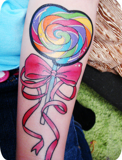 bow, lollipop, tattoo