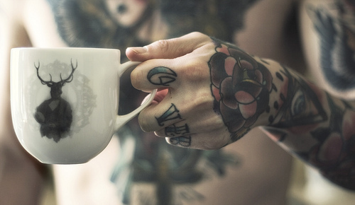 boy, cool, girl, ink, mug, people, person, tattoo, tattoos