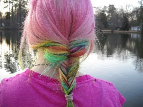 braid, brunette, colorful, fashion, hair