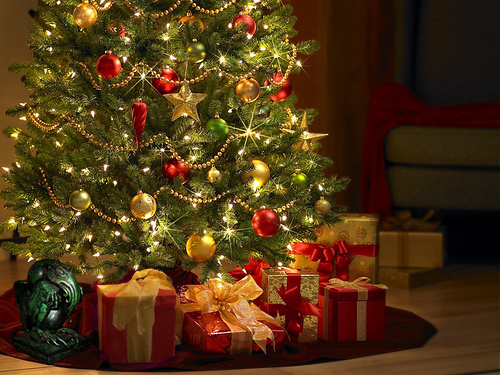 bright, christmas, christmas presents, christmas tree, decorations