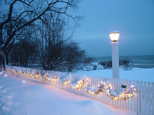 bright, christmas, decorations, fence, festive
