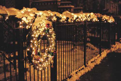bright, christmas, decorations, fence, lights, pretty, snow, winter, wreath