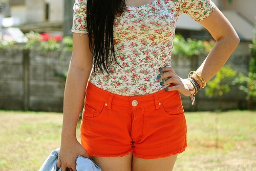 bright, girl, shorts