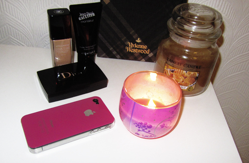 candles, dior, fire, foundation, iphone, makeup, pink, yankee candle