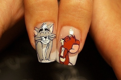 cartoon, cat, cute, french, jerry, mouse, nail art, nail polish, nails, tom, tom & jerry, tom and jerry