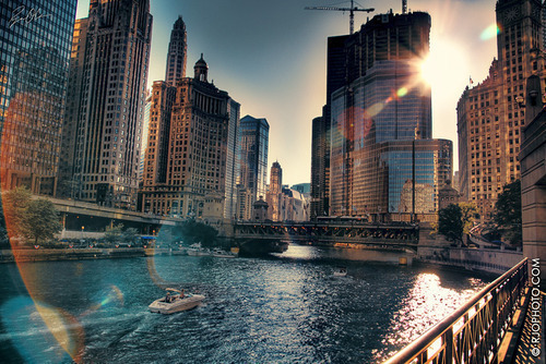 chicago, summer, town